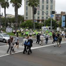 Protesters in San Diego at the Infectious Disease society of America conference